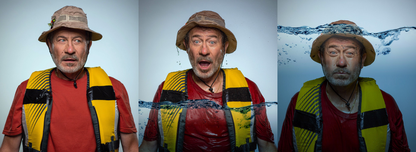 A series of three images of a man wearing a life jacket and fishing hat. In the first image the man looks concern, in the secon image he looks surprised and there's water up to his chest and in in the third image he's underwater holding his breath.
